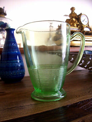 Depression Green  Glass Large  Beer / Water Jug - Postage $18.00 - Buy It Now