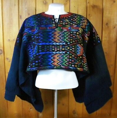 Vintage Mexican/Oaxacan Hand-Embroidered Rainbow Geometric Black HUIPIL PONCHO