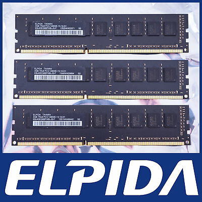 Elpida 12Gb Kit 3X 4Gb Ddr3-1866 Pc3-14900E Ecc Server Pc Mac Ram Memory 12800E