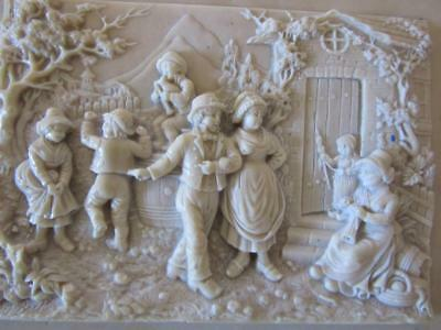 A Stunning French Antique Carved Calcite   Picture Of Rural Gathering Dancing