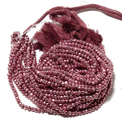 """5 Strands Coated Pink Pyrite Faceted Rondelle Beads 3.5mm To 4mm 14"""" Each M122"""