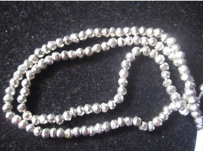 Silver Pyrite Micro Faceted Coated Rondelle Beads 3.5mm Beads 14 Inches Strand