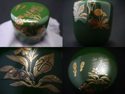 Japan WAJIMA Lacquer Tea caddy Spring Young grass makie Natsume Hidden letters