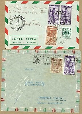 Italy 1952-56 airmail covers (2) to Italy