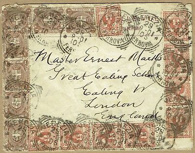 Italy 1901 cover to GB unusual franking composition
