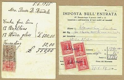 Italy Revenue stamps selection on receipts/cards/pieces 1920s onwards (6 items)