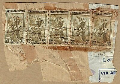"""Italy early 1950s airmail fragment bearing 200L """"Worker"""" x5 to Australia"""