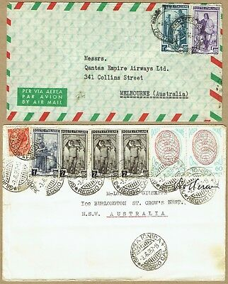 Italy 1954-57 airmail covers (2) to Australia