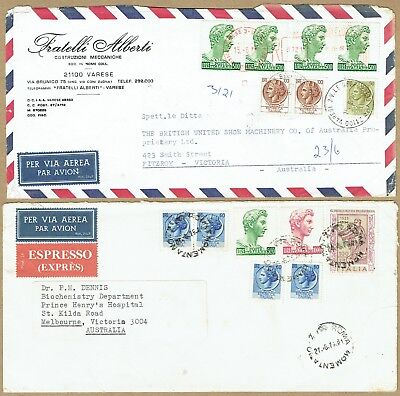 Italy 1970s higher denomination airmail covers to Australia (2, one Espresso)