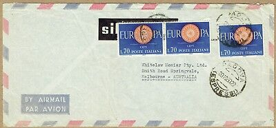 Italy 1960 airmail cover to Australia EUROPA 70L x3