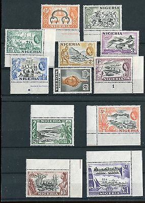 Nigeria  QEII 1953 definitive issue of 12 SG69//80 MNH mostly margined