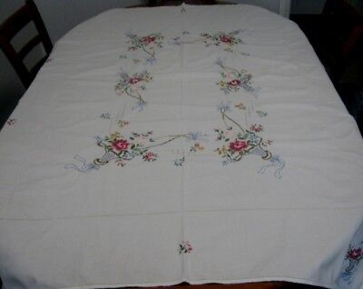 Vintage Hand Embroidered/appliqued Tablecloth ~ Cotton ~ Oblong