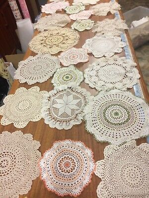 24 x Vintage Crochet Doilies and traycloths - Various Sizes - Gorgeous - LOT #1
