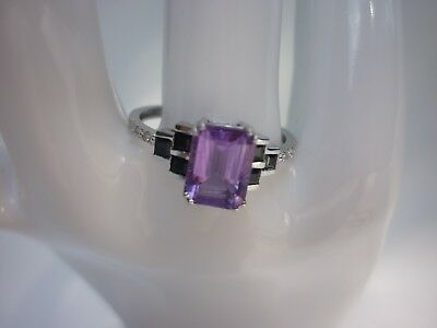 9K SOLID GOLD 2.03ct AMETHYST BLACK SAPPHIRE AND DIAMONDS RING RRP $1300