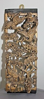 Stunning 19Th Century Chinese Gilt Carved Wood Panel Cranes Pines