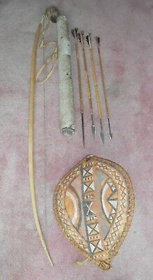 African bow arrows quiver and shield