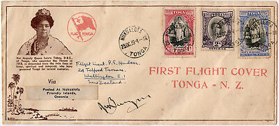 Tonga New Zealand airmail cover. Survey flight by TEAL flying boat Aotearoa 1939