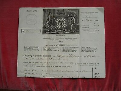 Sun Fire Office Insurance Policy,1880 on Cottages at Rockland St Mary, Norfolk