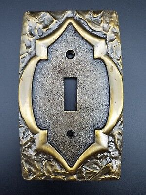 Vintage 60's MCM Antique Brass Amerock Monterey Light Toggle Switch Plate Cover