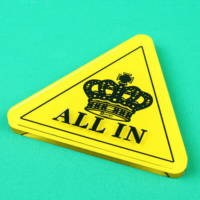 Yellow Black Crown Acrylic Triangle ALL IN Button Texas Hold'Em Poker Card Game