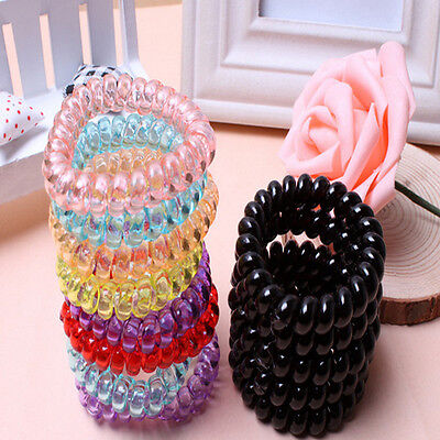 5pcs .Elastic Rubber Tie Wire Coil Hair Bands Rope Ponytail Holder Dyjh