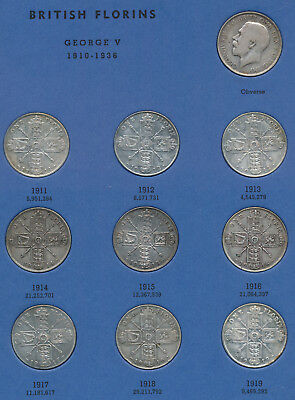 30 Old Uk Silver Florins (1911-1940 Nearly Complete Set) Must See > No Reserve