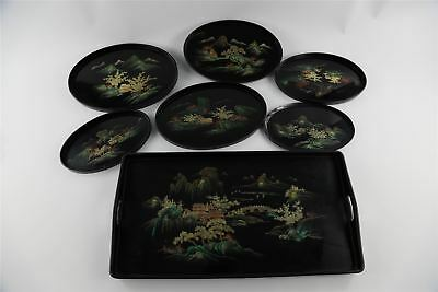 Set of SEVEN stunning vintage handpainted CHINOISERIE large trays