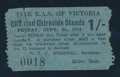 Australia: ROYAL AGRICULTURAL SOCIETY of VICTORIA 1954 1/- Admission Ticket
