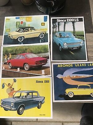 Lot De 5 Cartes Postales Simca Voitures