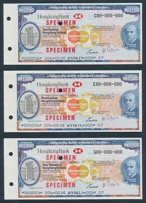 Hong Kong: 1984 Thos Cook, HKBank & Mastercard SET SPECIMEN Travellers Cheques