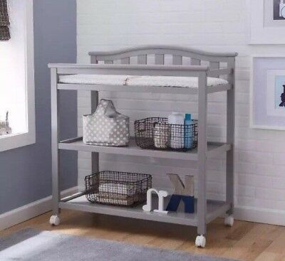 Delta Children Bell Top Changing Table with Casters Grey