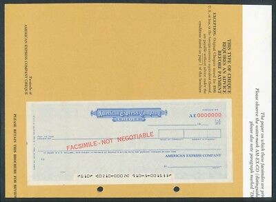 USA: 1967 American Express. RARE Pair of SPECIMEN Foreign Remittance Cheques