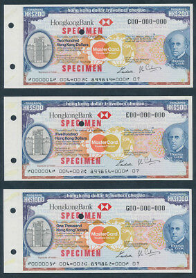 Hong Kong: 1984 Thos Cook, HKBank & Mastercard. SET SPECIMEN Travellers Cheques