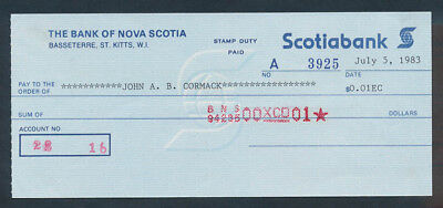 St Kitts: 1983 Scotiabank. SCARCE Cheque for 1 Cent in East Caribbean Dollars