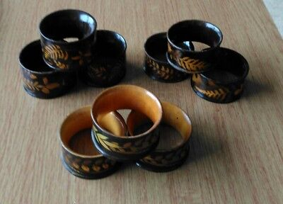 Nine Mauchline Fern Ware Napkin Rings. Brown with Cream Ferns.