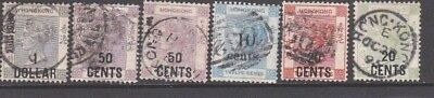 CHINA - HONG KONG:  6 x used Victorian over printed stamps issued 1880 -1898