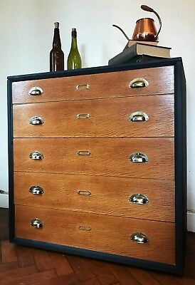 Vintage Haberdashery Drawers Collectors Retro School Chest Cabinet