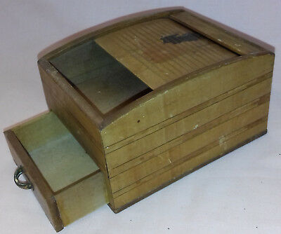 Small Wooden Roll Top Cigarette Box Dispenser with Drawer