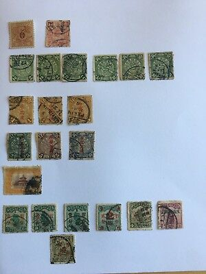 China Stamps,Imperial Dragon,Carp,Temple of Heaven,Qing revenue stamp,overprints