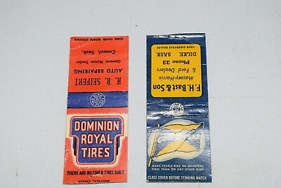 antique ww2 GOODYEAR & DOMINION TIRE matchbooks massey harris gm ford sask cover