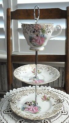 Vintage 3 tier Biscuit Cake Stand With Cup Top China Dainty Lady Wedding