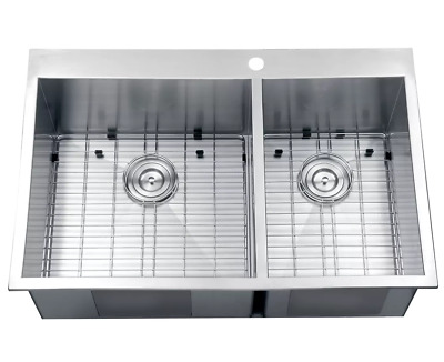 Kitchen Sink Combo Stainless Steel Double Bowl Overmount