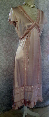 Stunning Long Antique Pink Vintage Style 1920S Dress Size Uk 10, Silk, French,
