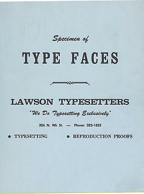 1960 Type Typesetting Specimens BIRMINGHAM ALABAMA @ Lawson Typesetters BOOK
