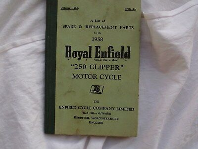 Royal Enfield 250 Clipper , Spare & Replacement Parts 1958