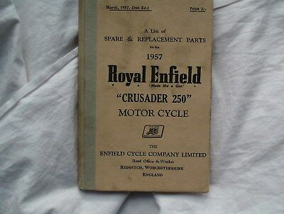 Royal Enfield Crusader 250,  Spare & Replacement Parts 1957