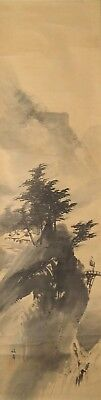 #9335 Japanese Hanging Scroll: Mountain Landscape