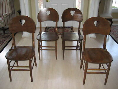 Set of 4 Antique Pine Chairs, Heart Cut Out motif, Country, Farmhouse decor