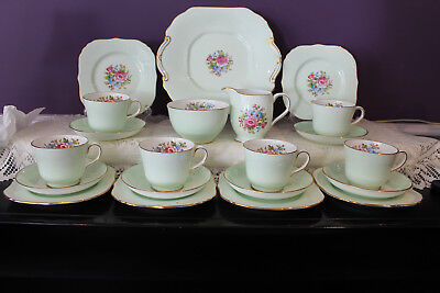 Beautiful Hammersley 21 Piece Cabinet Tea Set - Mint Green With Floral Bouquet