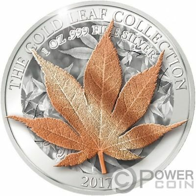 JAPANESE MAPLE 3D Gold Leaf Collection 1 Oz Silver Coin 5$ Tokelau 2017